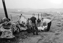 James Dean's Body Is Removed From The Wreckage