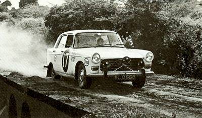 A Peugeot 404 competing in the 1968 East African Rally