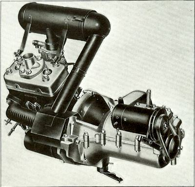 The two-stroke DKW type engine of the SAAB 92
