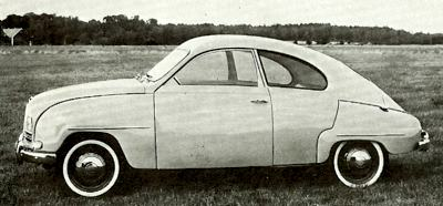 1955 SAAB 93, which was powered by a three-cylinder 750cc engine