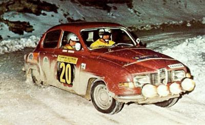Hakan Lindberg in a 1970 rally event in his SAAB 96