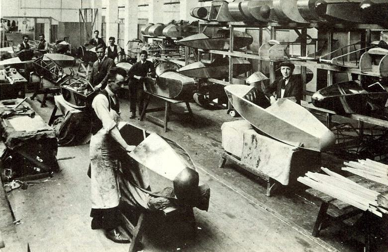An early photo of the Swallow Sidecar workshops