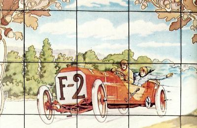Tile drawing depicting the winner of the 1907 race, Felice Nazzaro, in a Fiat