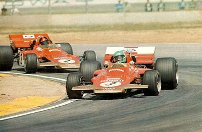 Reine Wisell leads Emerson Fittipaldi, both in Gold Leaf Team Lotus 72's, around Ontario in the 1971 Questor Grand Prix