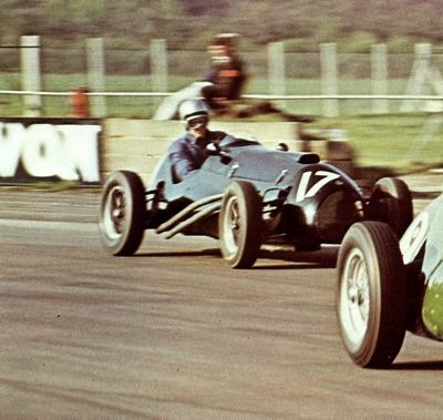 A Connaught in action at one of Silverstone's famous historic races during the 1960's