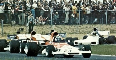 Beltoise's BRM P160 leads a group of cars in the 1972 Belgian Grand Prix