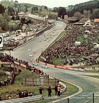 Two Matras lead on the opening lap of the SPA 1000 Km race in 1973