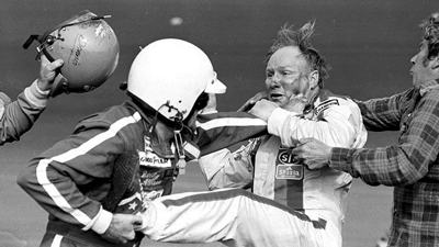Cale Yarborough toughs it out with Donnie Allison