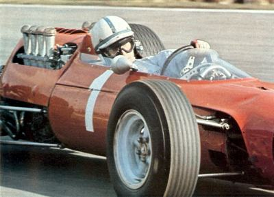 John Surtees behind the wheel of the Ferrari at Brands Hatch in 1965