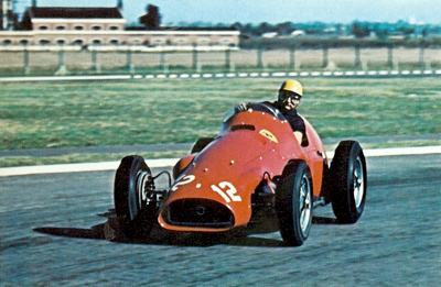 Jose Gonzales pictured at Silverstone in 1951 in a 4.5 liter Ferrari