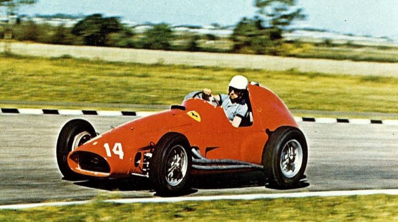 Maurice Trintignant in action in the 1955 Formula One Ferrari