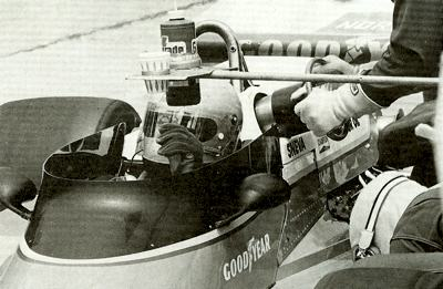 Penske's USAC driver Tom Sneva makes a pit stop at Indy in 1977