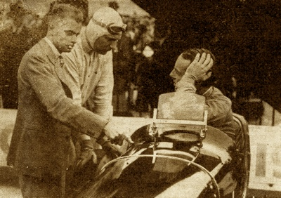 Whitney Straight after winning the 250-mile JCC International Trophy Race at Brooklands in his 2.9-liter Maserati