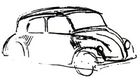 The first sketch of the Volkswagen Beetl