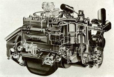 A cutaway shot of the in-line side-valve six-cylinder engine, which was produced by Nash and Hudson in the 1950's
