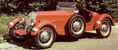 A 1934 Fiat 508S Ballila Spyder Sport, which was fitted with a Siata supercharger